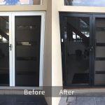 Recolouring Aluminium Door Before & After