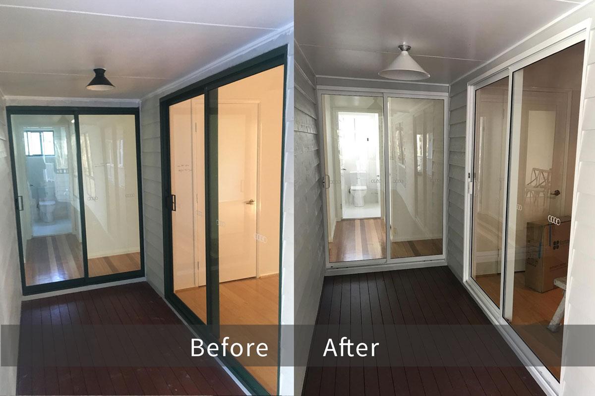 Recolouring Aluminium Sliding Door Before & After