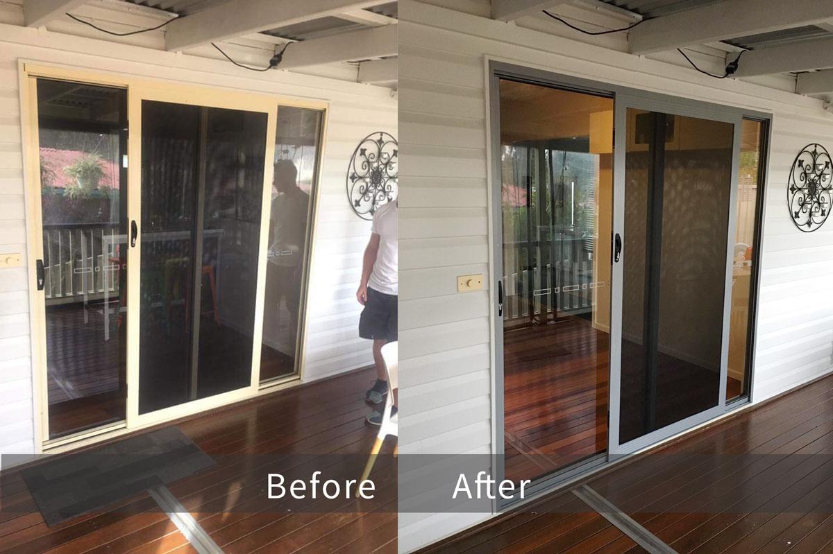 Aluminium sliding doors repainting