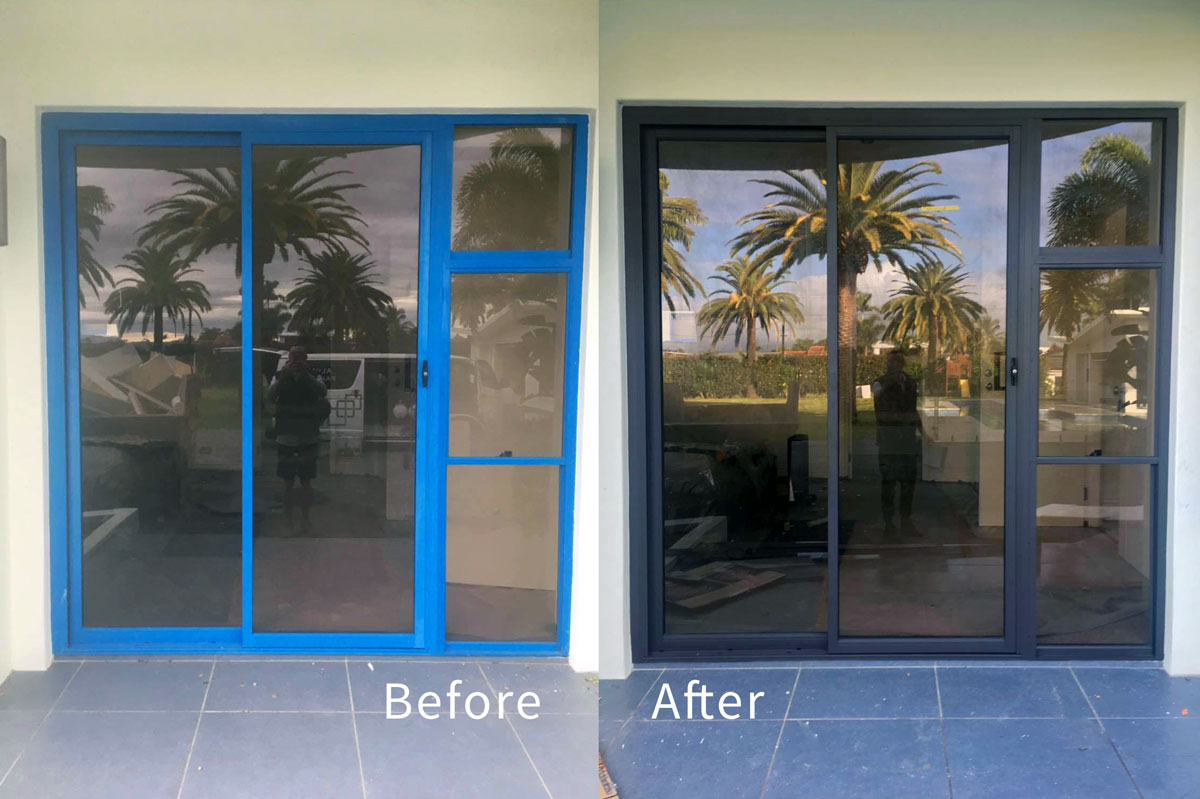 Before and After recolouring aluminium door